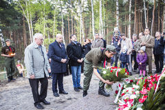Anniversario del primo addestramento militare i militari polacchi o Immagini Stock Libere da Diritti
