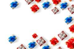 anniversario felice Chri della cartolina d'auguri di festa di Natale del contenitore di regalo Fotografia Stock