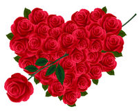 Anniversario o cuore del biglietto di S. Valentino fatto dalle rose Fotografie Stock Libere da Diritti