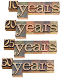 Anniversary - 10, 20 ,25, 50 years. Anniversary concept - 10, 20 ,25, 50 years - isolated text in vintage wood letterpress printing blocks stained by color inks Stock Photos