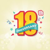 Colorful Anniversary Emblem 18th Anniversary Template Design Vector stock illustration