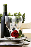 Anniversary. With wine and red rose stock photography
