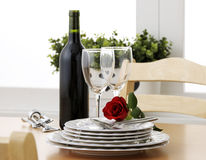 Anniversary. With wine and red rose royalty free stock image