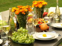 Anniversary. Laid table for anniversary party in garden Royalty Free Stock Photography