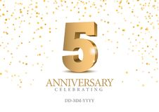 Free Anniversary 5. Gold 3d Numbers. Royalty Free Stock Photos - 133351278