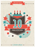 Anniversary abstract background with ribbon and Royalty Free Stock Photos