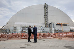 Anniversary of accident on Chornobyl Nuclear Power Plant. CHERNOBYL, UKRAINE - Apr 26, 2017: President of Ukraine Petro Poroshenko and President of Belarus Royalty Free Stock Images