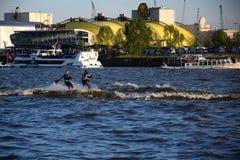 Waterski Show, Hafengeburtstag St. Pauli-Landungsbrucken. 2019 anniversary annual arrival birthday boardwalk boat boats celebration city cruise event festival royalty free stock photo