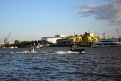 Waterski Show, Hafengeburtstag St. Pauli-Landungsbrucken. 2019 anniversary annual arrival birthday boardwalk boat boats celebration city cruise event festival stock image