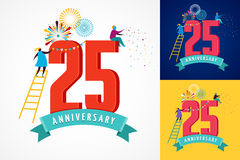 Anniversary - background with people celebrating icons and numbers Stock Photo