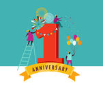 Anniversary - background with people celebrating icons and numbers Royalty Free Stock Photography