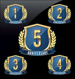 Anniversary Badge Gold and Blue 1st, 2nd, 3rd, 4th, 5th Years vector illustration