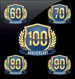 Anniversary Badge Gold and Blue 60th, 70th, 80th, 90th, 100th Years. Set of Anniversary Badge Gold and Blue 60th, 70th, 80th, 90th, 100th Years Stock Image