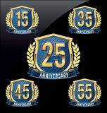 Anniversary Badge Gold and Blue 15th, 25th, 35th, 45th, 55th Years. Set of Anniversary Badge Gold and Blue 15th, 25th, 35th, 45th, 55th Years vector illustration