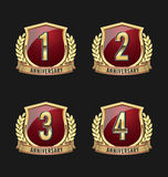 Anniversary Badge Gold and Red 1st, 2nd, 3rd, 4th Years. Set of Anniversary Badge Gold and Red 1st, 2nd, 3rd, 4th Years vector illustration