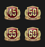 Anniversary Badge Gold and Red 45th, 50th, 55th, 60th Years Royalty Free Stock Image