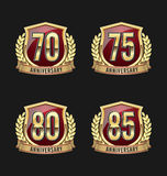 Anniversary Badge Gold and Red 70th, 75th, 80th, 85th Years stock illustration