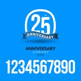 Anniversary badge label ribbon sign design. Anniversary constructor with numbers. Congratulation symbol.  Stock Image