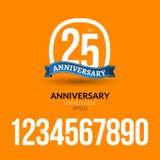Anniversary badge label ribbon sign design.  Royalty Free Stock Photos