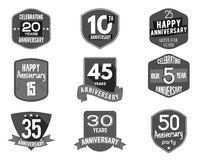 Anniversary badge set. Illustration of  signs and emblems. Flat  logo designs in   retro styles. Easy to edit  use your Stock Photos