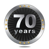 70 Anniversary badge - silver colour. Anniversary badge - shiny silver colour on white background Royalty Free Stock Photography