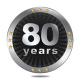 80 Anniversary badge - silver colour. Anniversary badge - shiny silver colour on white background Stock Photography