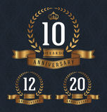 10 Anniversary badge. 10,12,20 Years Anniversary decorative sign. Vector illustration royalty free illustration