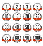 Anniversary Badges Black and RedColor Royalty Free Stock Photo