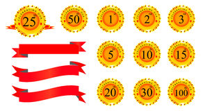 Anniversary Badges. Four different anniversary ribbon badges icon set Royalty Free Stock Photo