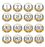 Anniversary Badges Gold and Black Color. Vintage Stock Photo