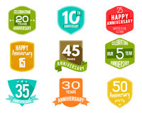Anniversary badges, signs and emblems collection in different style - retro design, flat. Easy to edit  use your number. Anniversary badges, signs and emblems Royalty Free Stock Photos