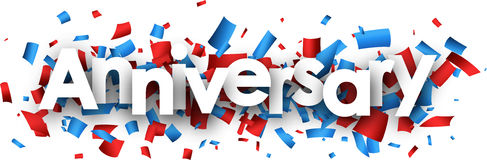Anniversary banner with colorful confetti. Anniversary banner with red and blue confetti. Vector paper illustration Royalty Free Stock Image