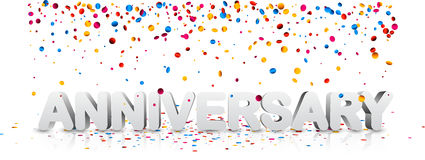 Anniversary banner with colorful confetti. White anniversary 3d banner with colorful confetti. Vector holiday illustration Royalty Free Stock Photo
