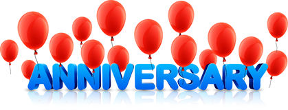 Anniversary banner with red balloons. Blue anniversary 3d banner with red balloons. Vector holiday illustration Stock Photos