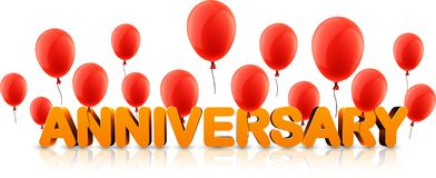Anniversary banner with red balloons. Orange anniversary 3d banner with red balloons. Vector holiday illustration Royalty Free Illustration