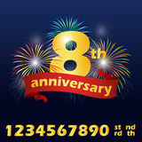 Anniversary banner ribbon and number text and firework vector design Royalty Free Stock Images