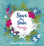 Anniversary banner with tropical birds and flowers Royalty Free Stock Image