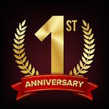 1 Anniversary Banner Vector. One Year Age, First Celebration. Shining Digit Sign. Gold Number One. Laurel Wreath. For. 1 Year Anniversary Vector. One, First Royalty Free Illustration