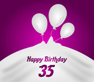 35 anniversary birthday. Anniversary pink background with white balloons illustration for 35 birthday Stock Image