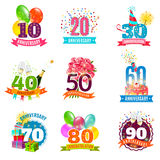 Anniversary birthdays emblems icons set. Anniversary birthdays festive emblems icons set for personalized gifts cards  and presents colorful abstract isolated Royalty Free Stock Image