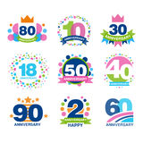 Anniversary birthdays festive signs set, ubilee elements collection vector Illustrations. On a white background Royalty Free Stock Image