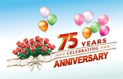 75 years anniversary. 75 anniversary with bouquet of roses against the background of balloons Royalty Free Stock Image
