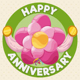 Anniversary Button with Flower Balloon Decoration, Vector Illustration royalty free illustration