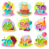 Anniversary Candle Numbers Retro Set. Anniversary candle numbers for birthday cake with celebration accessories and gifts retro set isolated vector illustration Royalty Free Stock Photo