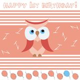 Anniversary card. With cute red owl Royalty Free Stock Photos