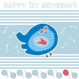 Anniversary card. With funny blue bird Royalty Free Stock Photos