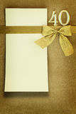 Anniversary card. On golden background Royalty Free Stock Images