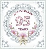 Anniversary card 95 years. In a frame with an ornament and flowers stock illustration
