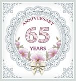 Anniversary card 65 years. In a frame with an ornament and flowers vector illustration