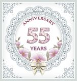 Anniversary card 55 years. In a frame with an ornament and flowers Royalty Free Stock Photo